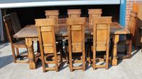 1960's Oak Refectory Table with Set 8 Jacobean style Oak Highback Dining Chairs (2 of 7)