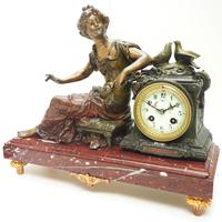 Wonderful French Figural Mantel Clock Lady Reclining 8 Day Mantle Clock with side Urns (7 of 12)