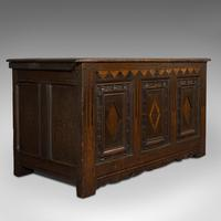 Antique Coffer, English, Oak, 3 Panel, Linen Chest, Trunk, William III c 1700