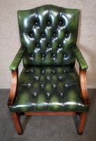 Green Leather Georgian Style Chesterfield Gainsborough Library / Office Chair (8 of 8)