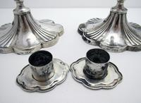 Pair of Antique 1903 Edwardian Solid Sterling Silver Candlesticks Candle Holders. English Sheffield (4 of 10)