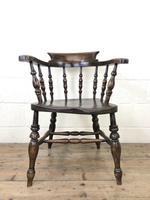 Antique Beech & Elm Smoker's Bow Armchair (3 of 9)