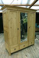 Superb! Old Triple Door 'Knock Down' Pine Combination Wardrobe - We Deliver! (6 of 11)