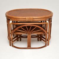 Vintage 1970's Bamboo & Rattan Games Table & Chairs (3 of 12)