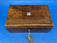Victorian Nickel / Silver Bound Burr Cedar Box (3 of 11)