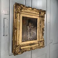 Antique Georgian oil painting study of boy in kitchen scullery with pewter plate (3 of 10)