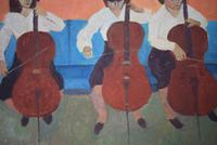 Mid Century Oil Painting on Board Three Cellists by Horas Kennedy (4 of 9)