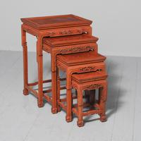 Antique Nest of 4 Padouk Chinese Occasional Tables (2 of 9)