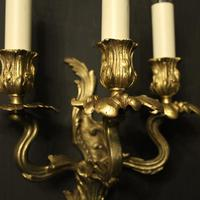 French Pair Of Gilt Bronze Antique Wall Lights (8 of 10)