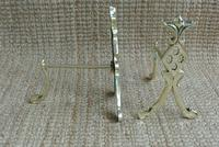 Pair of Edwardian Brass Fire-dogs Fire Irons Rest Andirons c.1905 (3 of 6)