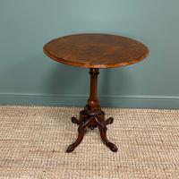 Beautifully Figured Victorian Walnut Antique Occasional Table (9 of 9)