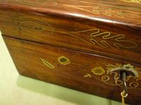 Beautifully Inlaid Rosewood Jewellery Box. Unusual Interior c.1865 (6 of 14)