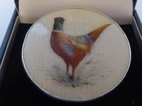 Rare 1913 Ceramic China Silver Brooch Jewellery Lapel Pin Pheasant Hand Painted (2 of 9)