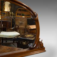Antique Overmantel Mirror, English, Walnut, Glass, Hall, Victorian, Circa 1860 (5 of 9)