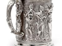Ornate Victorian Electro Formed Silver Plated Lidded Tankard with Figural Scenes of Musicians (7 of 13)
