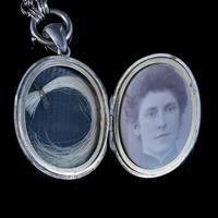 Antique Victorian Locket Collar Necklace Silver c.1880 (2 of 8)