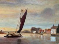 Contemporary, British School - Sailing on the Estuary - Seascape Oil Painting (4 of 11)