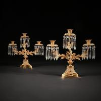 Pair of Early 19th Century Gilt Bronze and Lustres Three Branch Candelabra (8 of 8)