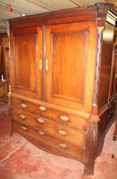 1800's Dutch Mahogany Bombee Base Linen Press (2 of 6)