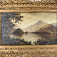 Antique Landscape Oil Painting of Scottish Loch (8 of 9)