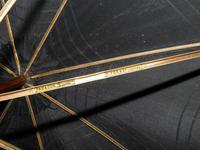 Antique Ladies Floral Black Canopy Umbrella W/Partridge Wood & Gold Plate Handle (9 of 15)