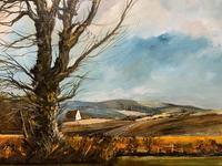 Large Magnificent Extensive Vintage Autumn Country Landscape Oil Painting (7 of 13)