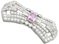 3.08ct Pink Topaz & 7.02ct Diamond and Platinum Brooch - French c.1925 (4 of 9)