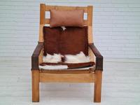 Scandinavian armchair, adjustable back, cowhide, 70s (19 of 20)