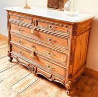 French Antique Style Walnut Chest of Drawers with Marble (2 of 6)