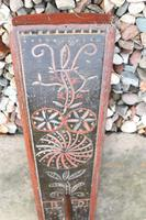 Scandinavian / Danish 'Folk Art' Horse handle mangle board with chip carving & original  black/red paint BPD c.1820 (12 of 19)