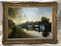 20th Century Oil Painting Pastoral Boats Heybridge Basin Canal Signed Listed Graham Petley (4 of 12)