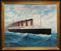 Huge Stunning Antique Seascape Oil Painting of Cunard's RMS Lusitania Ship c.1918