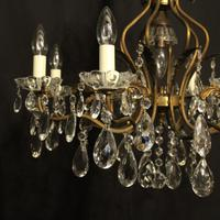 French Gilded 9 Light Birdcage Antique Chandelier (4 of 10)