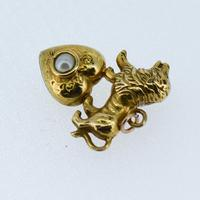 Antique 9ct 9K Yellow Gold Lion & Pearl Heart Pendant Charm (5 of 8)