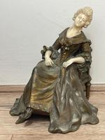 Important Art Nouveau Bronze Marble Seated Lady Sculpture By Xavier Raphanel (2 of 39)