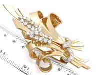 4.32ct Diamond & 18ct Yellow Gold Double Clip Brooch c.1930 (10 of 12)