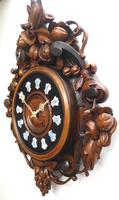 Rare Antique French Carved Dial Wall Clock 8 Day Movement Dial Black Forest Design (3 of 10)