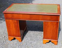 1960s Yew Wood Pedestal Desk with Green Leather Top (5 of 5)