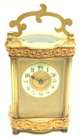 Fine Antique French 8-day Serpentine Fleur De Lis Decorated Panel 8-day Carriage Clock Timepiece c.1890 (5 of 10)