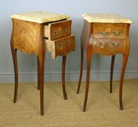 Antique Pair of French Bedside Cabinets Marble Top (6 of 6)