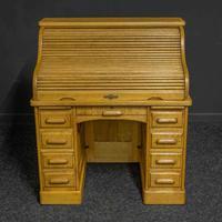 Small Oak Roll Top Desk (9 of 12)