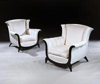 Unusual Pair of French Art Deco Ebonised Armchairs in a Crushed Velvet (2 of 8)