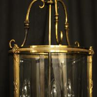 French Gilded Bronze Convex Antique Hall Lantern (5 of 10)