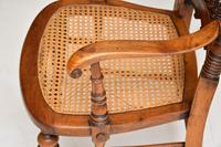Antique Victorian Carved & Cane Seated Armchair (5 of 11)