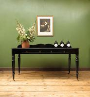 Antique Black Ebonized Console Table with Drawers & Moustache Back (15 of 22)