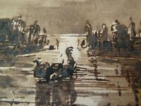 """""""Venice at Night"""" 18th Century Old Master Ink Drawing - Manner of Francesco Guardi (3 of 6)"""