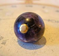 Victorian Pocket Watch Chain Fob 1890s Antique Large Brass & Amethyst Ball Fob (7 of 8)