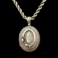 Antique Oval Buckle Fancy Locket and Rope Chain Sterling Silver Gold Gilt Necklace (10 of 11)