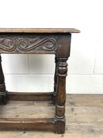 Antique Oak Joint Stool with Carved Detail (10 of 13)