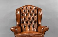 Edwardian Mahogany Hand Dyed Leather Wing Back Armchair (3 of 14)